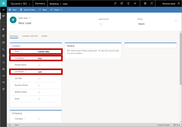 An example of lead scoring in Dynamics 365 for Marketing