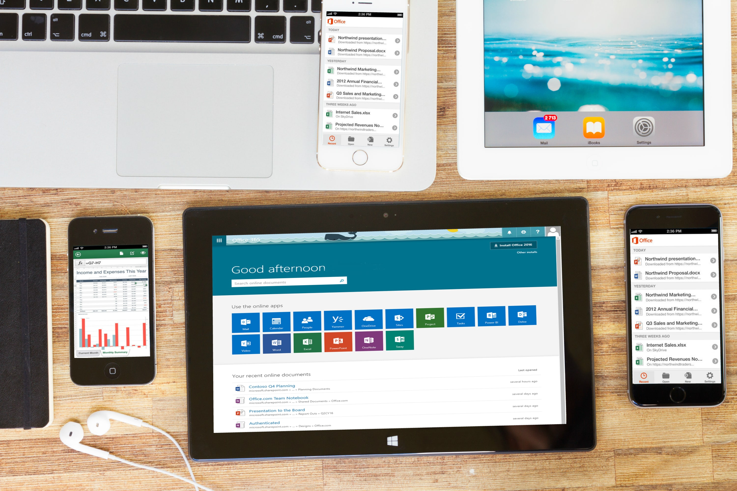 O365 on a tablet and mobile phones