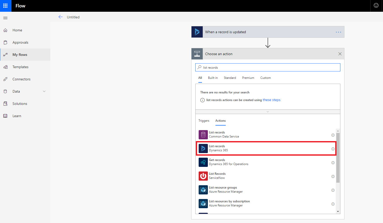 How to select list records in Microsoft Flow