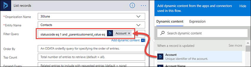 How to use Filter Query box in Microsoft Flow