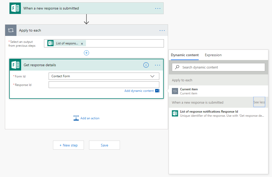 Get response details in Microsoft Flow