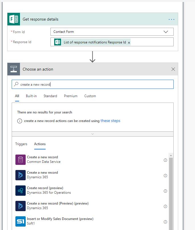 Create a new record in Dynamics 365 via Microsoft Flow