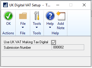 Use UK VAT Making Tax Digital Checkbox in Dynamics GP