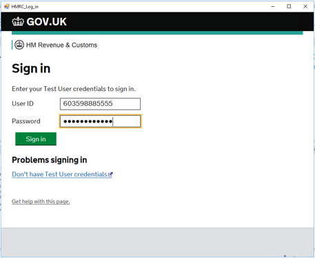 Sign in for HMRC in Dynamics GP