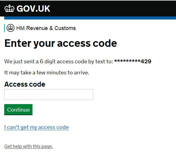 Enter your access code for HMRC in Dynamics GP