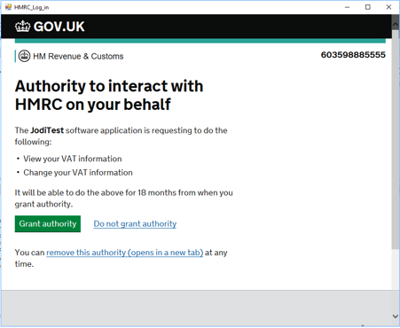 Authority to interact with HMRC on your behalf in Dynamics GP