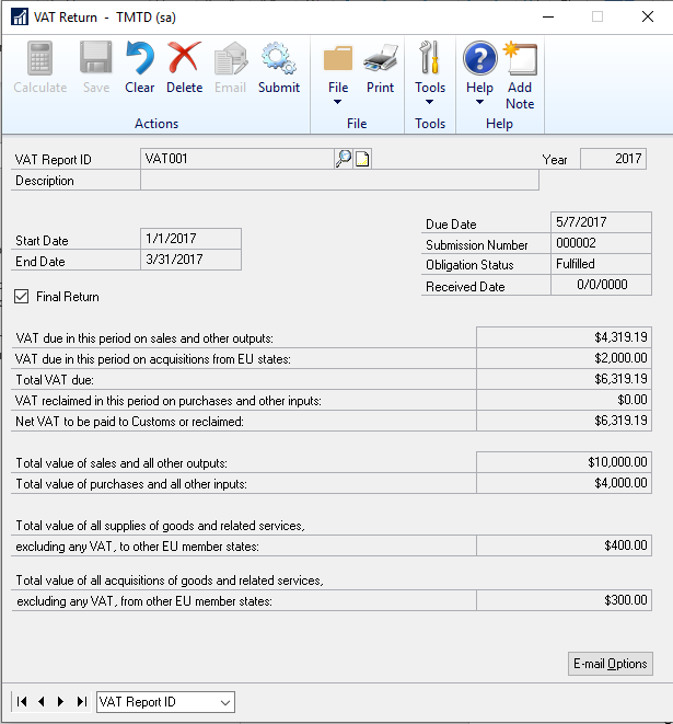 Final Return Window in Dynamics GP