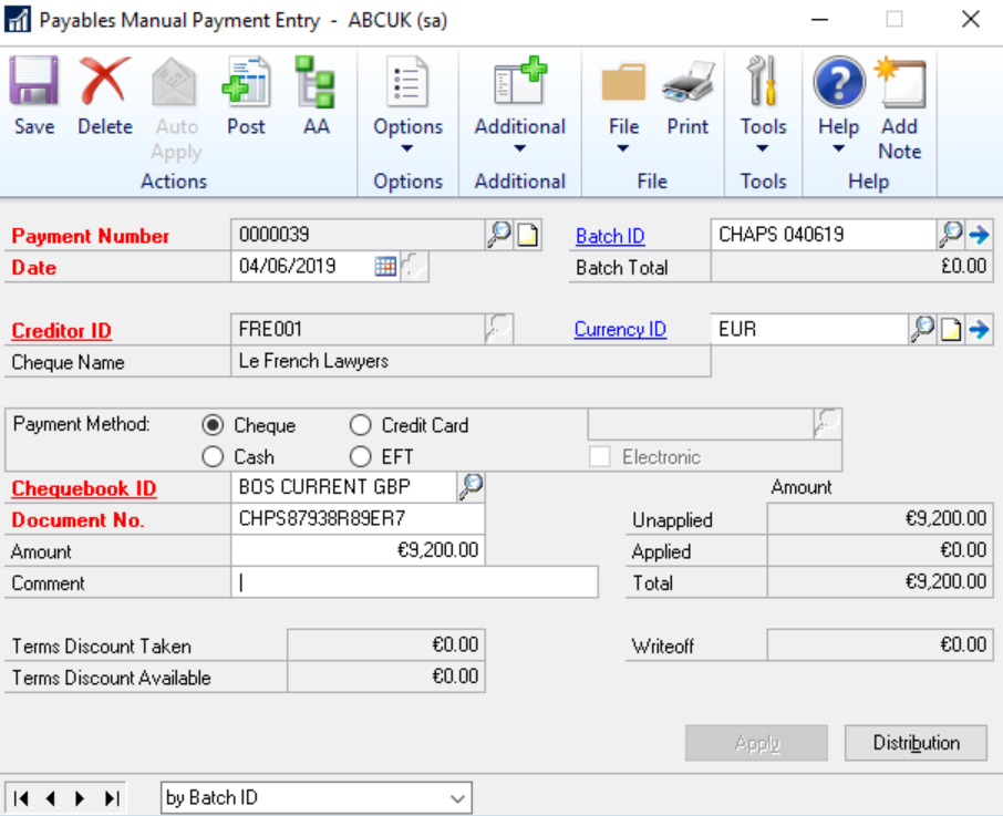 Payables Manual Payment Entry in Dynamics GP