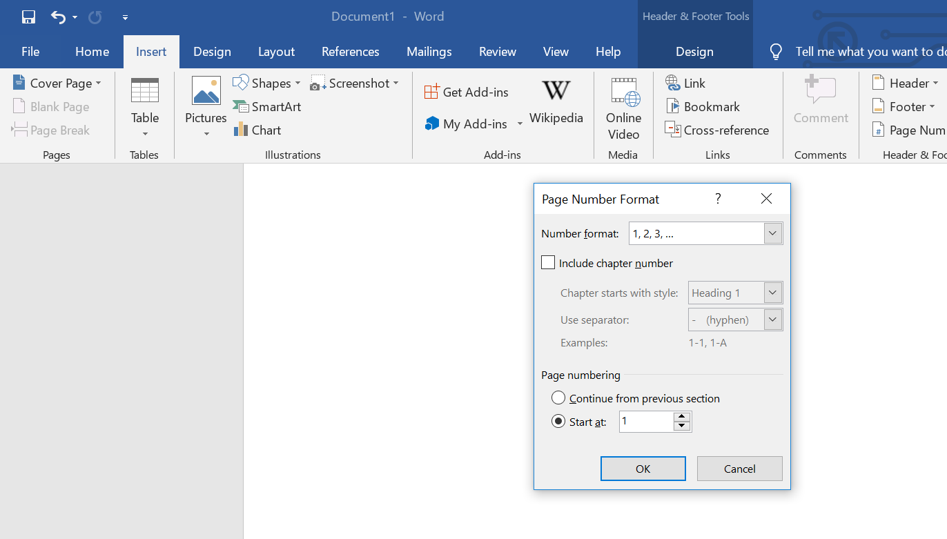 Format Page Numbers Options in Microsoft Word